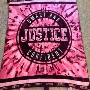 Justice pink fuzzy blanket